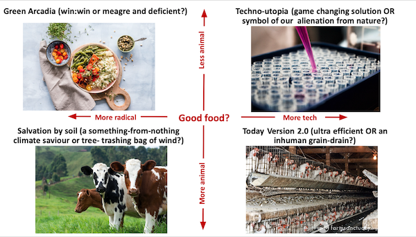 Quadrants showing images of four food discourses described in the text below.